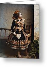 A Girl Poses In Her Traditional Costume Greeting Card by Gervais Courtellemont