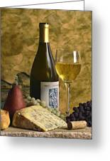 A Glass Of Chardonay Greeting Card by Mel Felix