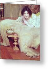 A Listener - The Bear Rug Greeting Card by Sir Lawrence Alma-Tadema