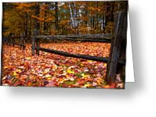 A Log Fence In A Carpet Of Fall Leaves Greeting Card by Chantal PhotoPix
