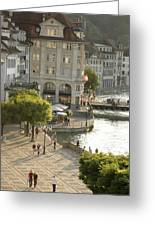 A Lucerne Street Scene In The City Greeting Card by Annie Griffiths