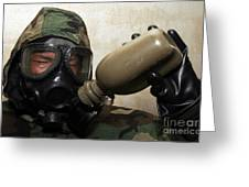 A Marine Drinks Water From A Canteen Greeting Card by Stocktrek Images