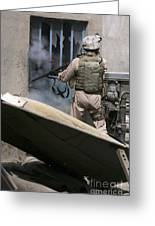 A Military Policeman Uses A Breaching Greeting Card by Stocktrek Images