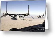 A Mv-22 Osprey Refuels Midflight While Greeting Card by Stocktrek Images