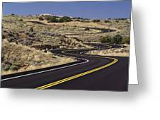 A Newly Paved Winding Road Up A Slight Greeting Card by Greg Probst