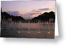 A Night View Of Memorial Plaza Greeting Card by Richard Nowitz