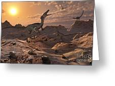 A Pack Of Carnivorous Velociraptors Greeting Card by Mark Stevenson