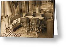 A Parisian Sidewalk Cafe In Sepia Greeting Card by Jennifer Holcombe