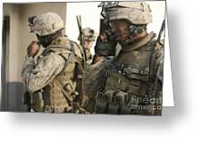 A Radio Operator Helps A Platoon Greeting Card by Stocktrek Images