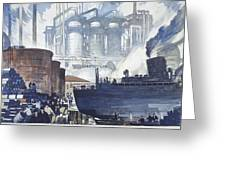 A Refinery Turns Petroleum Into Gas Greeting Card by Thorton Oakley