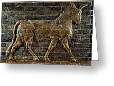 A Relief Depicts A Bull Greeting Card by Lynn Abercrombie