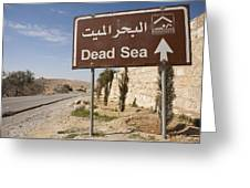 A Road Sign In Both Arabic And English Greeting Card by Taylor S. Kennedy
