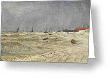 A Rough Day At Leigh Greeting Card by William Pye