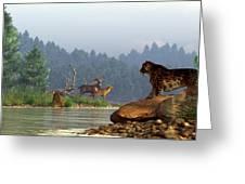 A Saber-tooth Hunting Deer Greeting Card by Daniel Eskridge