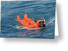 A Sailor Rescued By A Diver Greeting Card by Stocktrek Images