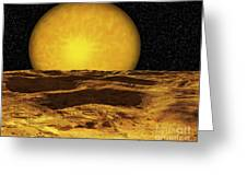 A Scene On A Moon Of Upsilon Andromeda Greeting Card by Ron Miller