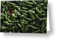 A Single Red Pepper Surrounded By Green Greeting Card by James L. Stanfield