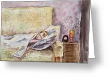 A Sleeping Toddler Greeting Card by Irina Sztukowski
