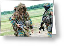 A Sniper Of The Belgian Army Together Greeting Card by Luc De Jaeger