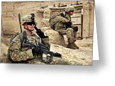 A Soldier Calls In Description Greeting Card by Stocktrek Images