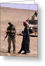 A Soldier Communicates With A Local Greeting Card by Stocktrek Images