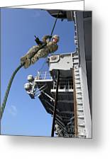 A Soldier Fast-ropes From The Rear Greeting Card by Stocktrek Images