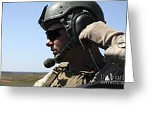 A Soldier Keeps In Radio Contact Greeting Card by Stocktrek Images