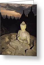 A Statue Of Buddha,  Borobudur, Java Greeting Card by Paul Chesley