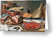 A Still Life of a Fish Trout and Baby Lobsters Greeting Card by Anton Friedrich Harms