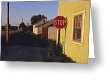 A Stop Sign In A Rural Alley Greeting Card by Raymond Gehman