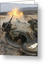 A Tank Crewman Braces Himself Greeting Card by Stocktrek Images