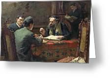 A Theological Debate Greeting Card by Eduard Frankfort