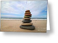 A Tower Of Stones On The Beach Greeting Card by Holger Ostwald