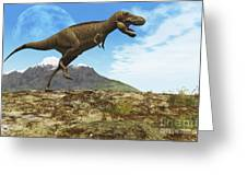 A Tyrannosaurus Rex Dinosaur Walks Greeting Card by Corey Ford
