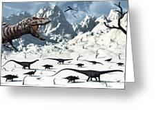 A  Tyrannosaurus Rex Stalks A Mixed Greeting Card by Mark Stevenson