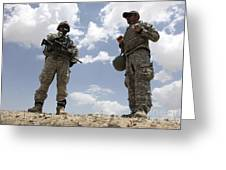 A U.s. Army Soldier Communicates Greeting Card by Stocktrek Images