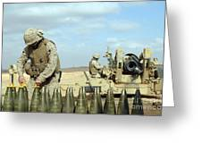 A U.s. Marine Prepares Howitzer Rounds Greeting Card by Stocktrek Images