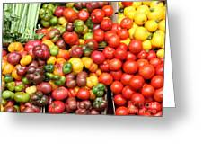 A Variety Of Fresh Tomatoes And Celeries - 5d17901 Greeting Card by Wingsdomain Art and Photography