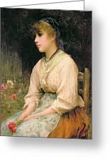 A Venetian Flower Girl Greeting Card by Sir Samuel Luke Fildes