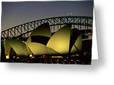 A View At Night Of The Famed Sydney Greeting Card by Medford Taylor
