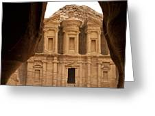 A View Of The Monastary In Petra Greeting Card by Taylor S. Kennedy