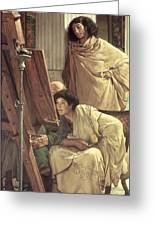 A Visit To The Studio Greeting Card by Sir Lawrence Alma-Tadema