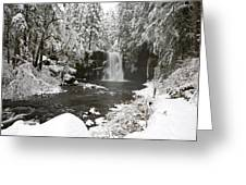 A Waterfall In To A River In Winter Greeting Card by Craig Tuttle