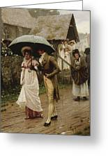 A Wet Sunday Morning Greeting Card by Edmund Blair Leighton