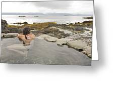 A Woman Enjoys A Hot Spring Greeting Card by Taylor S. Kennedy