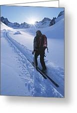 A Woman Skiing In The Selkirk Greeting Card by Jimmy Chin