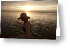 A Woman Wades Into The Dead Sea Greeting Card by Taylor S. Kennedy