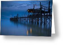 A Wooden Pier With Lights On It At Greeting Card by David DuChemin
