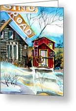 Abandoned Caboose Greeting Card by Mindy Newman