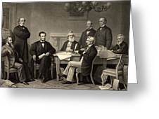Abraham Lincoln At The First Reading Of The Emancipation Proclamation - July 22 1862 Greeting Card by International  Images